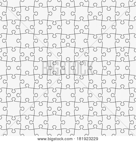 Puzzle seamless pattern, black and white. Easy to remove separate pieces. Vector illustration