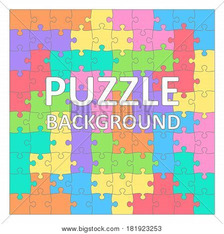 Children's Puzzles background with colored tetris shapes. 100 pieces. Vector illustration