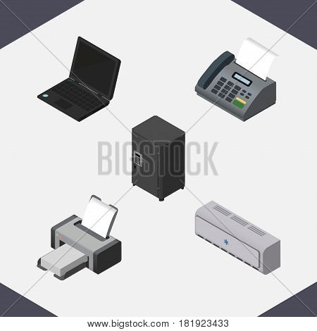 Isometric Work Set Of Office Phone, Strongbox, Printing Machine And Other Vector Objects. Also Includes Printer, Safe, Cooler Elements.
