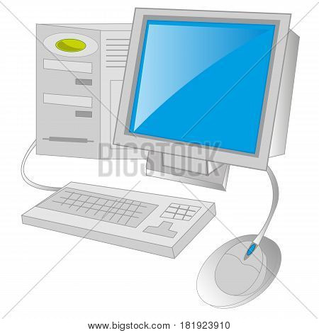 Computer and other completing on white background is insulated