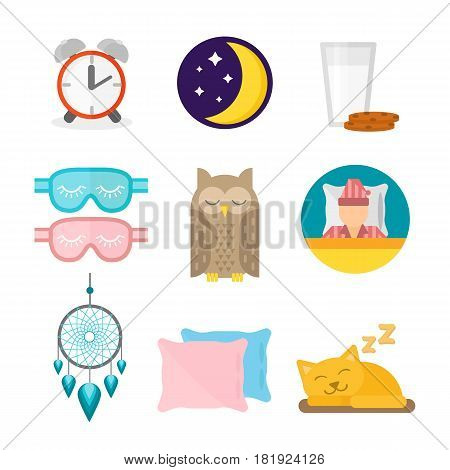 Sleep icons moon set pillow clock dream healthy lifestyle. Bedroom rest star human collection sleep icons. Sleep time icons flat set with milk and cookies isolated vector illustration.