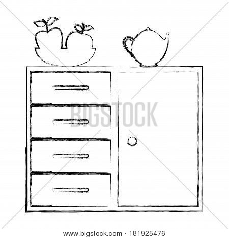 silhouette of kitchen shelf and drawers with tea kettle and fruits vector illustration