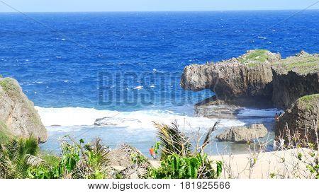 Hidden Beach, Saipan, Northern Mariana Islands The Hidden Beach is one of the treasured destinations at the  northeastern part of Saipan