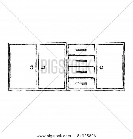 blurred silhouette of modern kitchen lower cabinets vector illustration