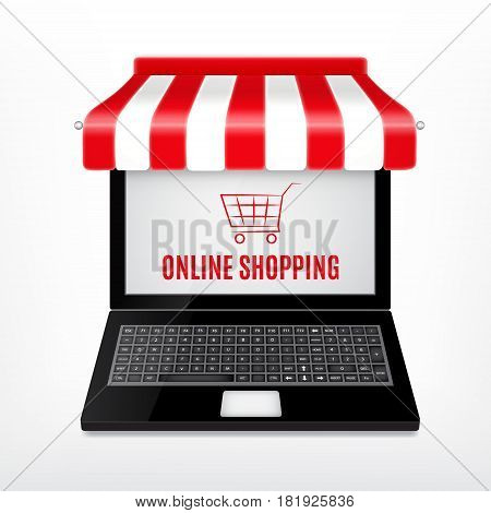 Online shopping concept. Laptop with red an white striped awning. EPS10 vector