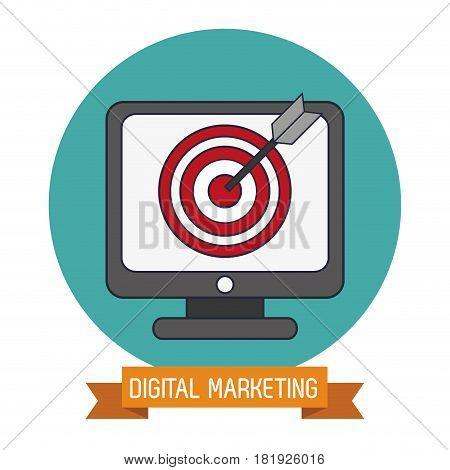 digital marketing online target objetive vector illustration eps 10