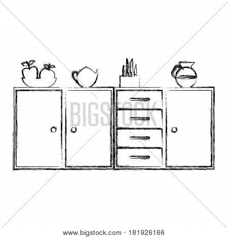 blurred silhouette of kitchen shelf and drawers and tea kettle and coffee jar vector illustration