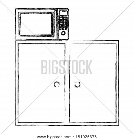 blurred silhouette of kitchen shelf and drawers with microwave vector illustration