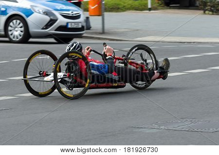 BERLIN - APRIL 02 2017: The annual 37th Berlin Half Marathon. Wheelchair competitors & hand cyclists.