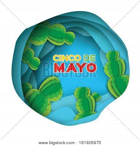 Blue Happy Cinco de Mayo Greeting card. Origami Mexican succulents. Mexico, Carnival. Paper cut Desert Cave Landscape. Cactus. Vector illustration.