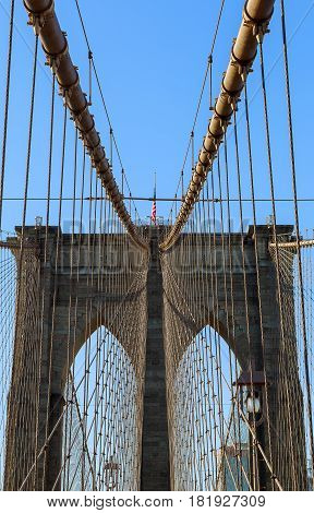 New York City Brooklyn Bridge In Manhattan Closeup With Skyscrapers