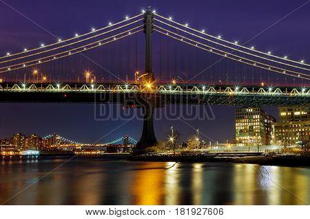 Silhouette Of Manhattan Bridge Manhattan Skyline At Night