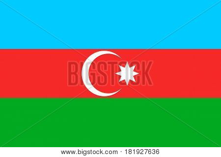 Azerbaijan national flag, horizontal tricolour, light blue, red, and green, white crescent, eight-pointed star in the center, symbolic element, patriotic symbol of country, flat vector illustration