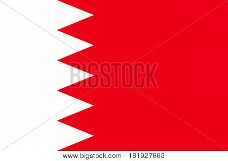 Bahrain national flag, five white triangles on maroon, symbolic element, patriotic symbol of country, flat vector illustration