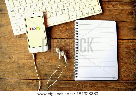CHIANGMAI THAILAND - April 14 2016: ebay app on a Apple iPhone screen. ebay is one of the largest online auction and shopping websites.