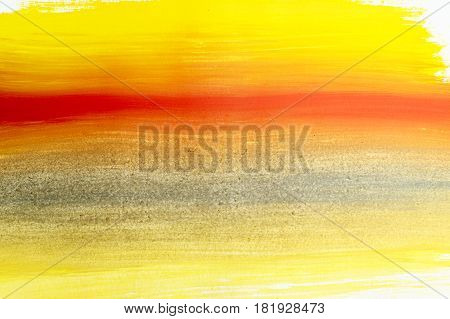 Yellow red abstract background painted with gouache. Design element. Children's creativity. Expressive painting with paints. Abstract sunrise