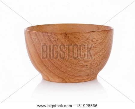 CloseUp wooden bowl isolated on white background