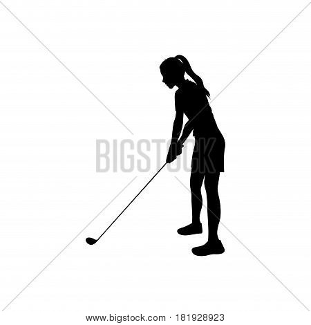 black silhouette girl playing golf in position vector illustration