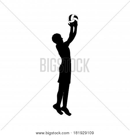 black silhouette man playing volleyball vector illustration