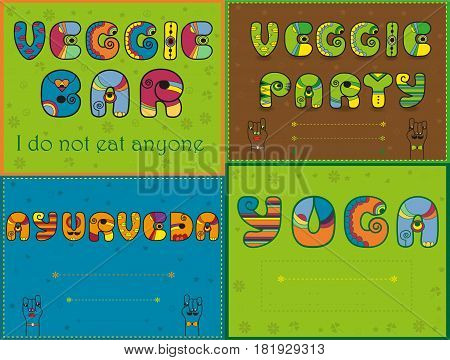 Inscriptions by artistic font for greeting and invitation cards. Veggie bar. Veggie party. Ayurveda. Yoga. Cartoon hands looking at each other. Place for custom text. illustration.