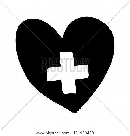 monochrome silhouette heart with cross inside vector illustration