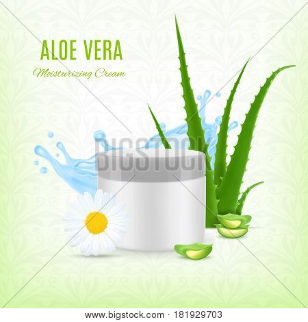 Aloe moisturizing cream. Aloe with jar and water splash. Cosmetic concept. EPS10 vector