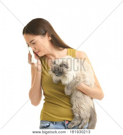 Animal allergy concept. Beautiful woman with cat on white background