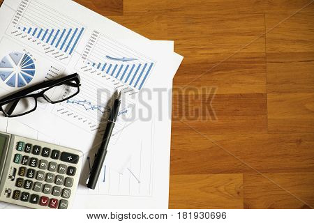 Desk Office With Pen, Analysis Report ,calculator. View From Top. Concept Of Business Analysis,