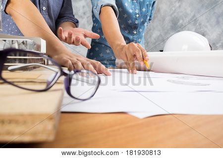 Engineer Teamwork. Image Of Engineer Meeting For Architectural Project.