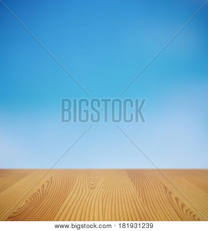 Vector background with glowing blue sky and modern wooden desk