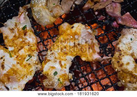 Raw Pork Slice For Barbecue Japanese Style Yakiniku. Shallow Focus.