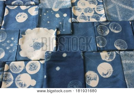 Thai indigo natural dye , Color shade and texture of fabric from blue indigo natural dye , Concept fashion