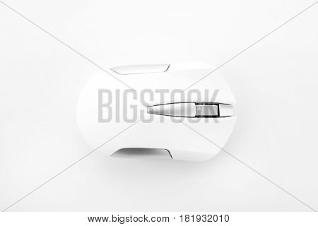 Wireless computer mouse on white background