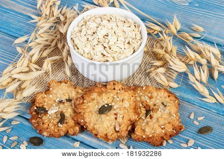 Oatmeal Cookies, Flakes And Ears Of Oat, Healthy Dessert Concept
