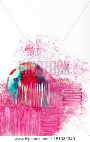 Creative modern art, abstractionism. Abstract colorful painting, bright mix of magenta, cyan and yellow colors on white background.