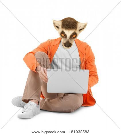 Man with head of lemur on white background