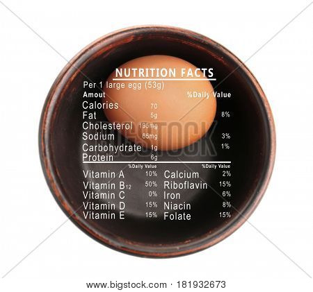 Raw egg in bowl and list of nutrition facts on white background