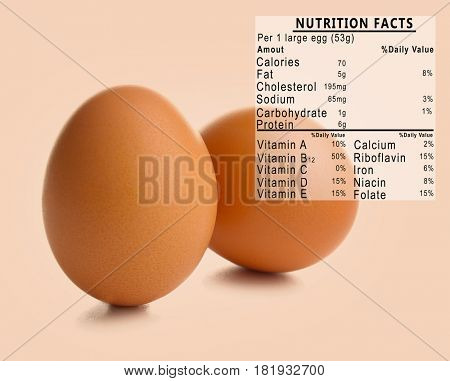 Raw eggs and list of nutrition facts on color background
