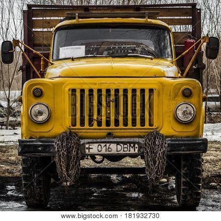 Kazakstan, Ust-Kamenogorsk, march 29, 2017: Gaz 53 - old soviet russian medium duty truck, old truck