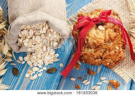 Oatmeal Cookies, Flakes In Jute Bag And Ears Of Oat, Healthy Dessert Concept