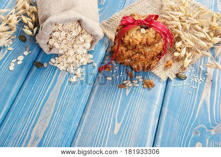 Oatmeal Cookies, Flakes In Jute Bag And Ears Of Oat, Healthy Dessert Concept, Copy Space For Text On