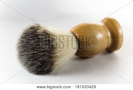 Shaving brush on white background one isolated