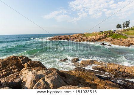 Ocean Rocky Coastline Waves Crashing Overhead