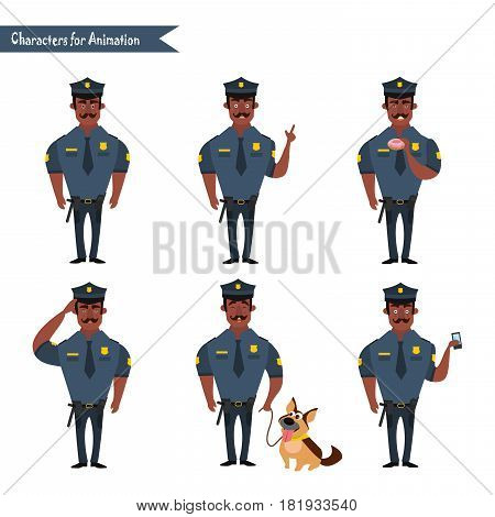 Set of colorful isolated vector African American policeman at work. African American Policeman Funny Characters Set. policeman character for scenes.