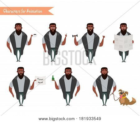 African American Boy character for your scenes. Funny cartoon. Vector illustration isolated on white background. Set for character speaks animations. Hipster beard