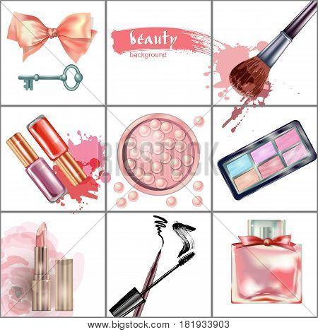 Cosmetics  and fashion background  with    make up artist objects: lipstick, eye shadows, mascara , eyeliner,  nail polish. Vector illustration.