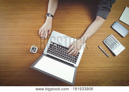 Concept Of Using Electronics. Businessman Works At Office. Computer, Laptop, Tablet, Caculator And O