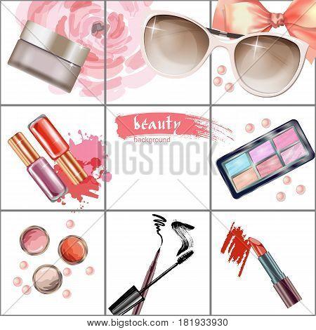 Cosmetics  and fashion background  with    make up artist objects: lipstick, eye shadows, mascara , eyeliner,  nail polish, sunglasses. Vector illustration.