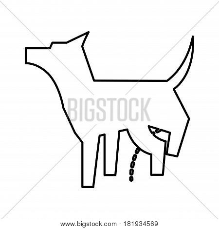 pet dog peeing mascot silhouette vector illustration design