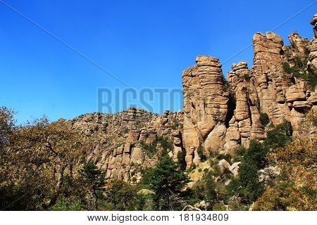 Near Organ Pipe rock hoodoos formation in Bonita Canyon, Chiricahua National Monument near Wilcox, in southern Arizona, USA.